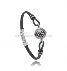 BRACELET IN BLACK RUBBER WITH CENTRAL ROSE OF THE WINDS IN STEEL AND ENAMEL