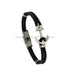 BRACELET IN LEATHER 3 MM TUBE BLACK DOUBLE WIRE WITH STILL IN STEEL
