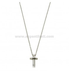 PENDANT CROSS WITH ZIRCONIA BLACKS AND CHAIN CABLE CM 45.50 STEEL