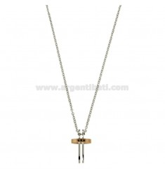PENDANT CROSS WITH ZIRCONIA BLACKS AND CHAIN CABLE CM 45.50 STEEL WITH ELEMENTS COPPER CLAD