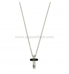 PENDANT CROSS WITH ZIRCONIA BLACKS AND CHAIN CABLE CM 45.50 STEEL WITH ELEMENTS CLAD RUTENIO