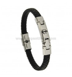 BRACELET IN HIDE LEATHER WITH STEEL PLATE WITH STILL 8 MM