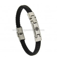 BRACELET IN HIDE LEATHER WITH STEEL PLATE 8 MM WITH RUDDER