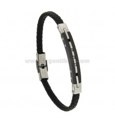 BRACELET IN HIDE LEATHER WITH PLATE 8 MM STEEL TWO TONE WITH WHITE ZIRCONIA
