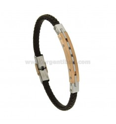 BRACELET IN HIDE LEATHER WITH PLATE 8 MM STEEL TWO TONE WITH BLACKS ZIRCONIA