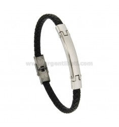 BRACELET IN HIDE LEATHER WITH STEEL PLATE MM 8