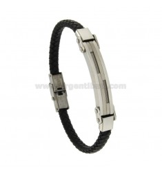 BRACELET IN HIDE LEATHER WITH PLATE MM 8 STEEL AND BRASS Vitine