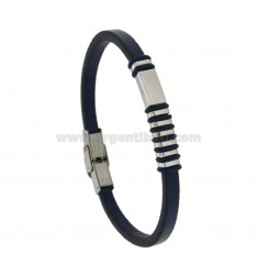 BRACELET IN LEATHER MM 5 PLATE WITH CENTRAL STEEL AND RUBBER &39