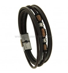 BRACELET IN LEATHER TWO.TONE multiwires WITH ELEMENTS IN STEEL TWO TONE