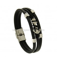 BRACELET IN BLACK LEATHER WITH multiwires STILL IN STEEL