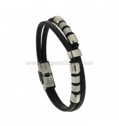 BRACELET WITH LEATHER multiwires ELEMENTS IN STEEL