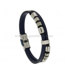 BRACELET IN LEATHER WITH BLUE multiwires ELEMENTS IN STEEL