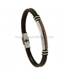 BROWN LEATHER BRACELET 21 CM STEEL TWO TONE AND ZIRCONIA