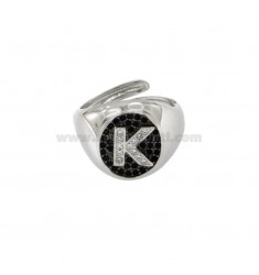PINKY RING 13x11 MM OVAL WITH LETTER K WITH ZIRCONIA WHITE AND BLACKS IN SILVER RHODIUM TIT 925 ‰ MIS ADJUSTABLE FROM 9