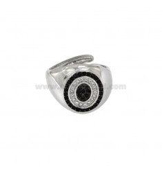 PINKY RING 13x11 MM OVAL WITH LETTER O WITH ZIRCONIA WHITE AND BLACKS IN SILVER RHODIUM TIT 925 ‰ MIS ADJUSTABLE FROM 9