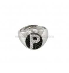 RING MIGNOLO MM OVAL 13x11 WITH LETTER P WITH ZIRCONIA WHITE AND BLACKS IN SILVER RHODIUM TIT 925 ‰ MIS ADJUSTABLE FROM 9