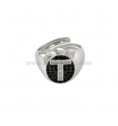 PINKY RING 13x11 MM OVAL WITH LETTER T WITH ZIRCONIA WHITE AND BLACKS IN SILVER RHODIUM TIT 925 ‰ MIS ADJUSTABLE FROM 9