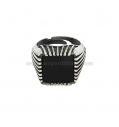 SQUARE RING 17x17 MM SILVER BRUNITO TIT 925 ‰ AND ONYX FIT ADJUSTABLE
