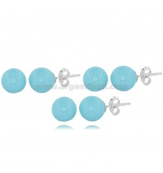 EARRINGS PCS 3 BALL MM 10 IN TURQUOISE PASTE AND RHODIUM-PLATED SILVER TIT 925
