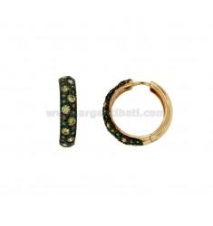 Pendientes de aro 24 MM de cobre de plata TIT 925 ‰ zirconia y tonos de verde