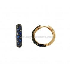 Pendientes de aro 24 MM de cobre de plata TIT 925 ‰ zirconia y tonos de azul