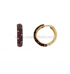 EARRINGS HOOP 24 MM SILVER COPPER TIT 925 ‰ AND THE TONE ZIRCONS FUCSIA