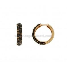 Pendientes de aro 24 MM de cobre de plata TIT 925 ‰ y tonos de Zircons AMARILLO