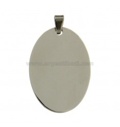PENDANT OVAL 34x23 MM STEEL