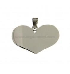 PENDANT HEART 22x30 MM STEEL
