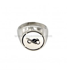 RING ROUND 17 MM IN MOTORCYCLE WITH SILVER BRUNITO TIT 925 ADJUSTABLE MEASURE TO 21