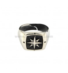 RING SQUARE MM 15X15 MIT WIND ROSE IN SILBER BRUNITO TIT 925 ADJUSTABLE MESSEN BIS 21