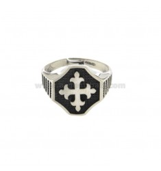 RING OTTAGONALE MM 16X16 SILVER CROSS TEMPLARE BRUNITO TIT ADJUSTABLE 925 MEASURE 21