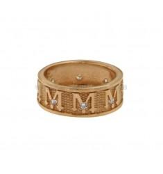 Sagrado anillo BAND 8 MM VERGINE MARIA con zirconia EN cobre de plata TIT 925 ‰ MEDIDA 21