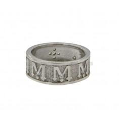 SAGRADO banda de anillo 8 MM VERGINE MARIA con zirconia plata del rodio TIT 925 ‰ MEDIDA 15