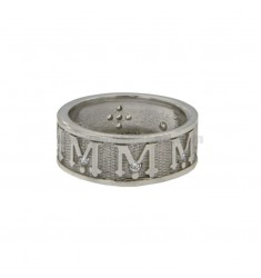 RING SAKRALE BAND 8 MM VERGINE MARIA mit Zirkonia IN SILVER RHODIUM TIT 925 ‰ MEASURE 21