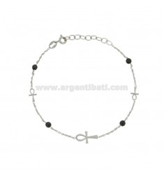 BRACELET WITH CABLE AND CROSSES IN SILVER RHODIUM EMATITE TIT 925 ‰ 18 CM