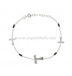 Armband mit KABEL UND CROSSES TAO Ematite Silber rhodiniert TIT 925 ‰ 18 CM