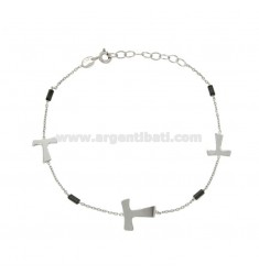 BRACELET WITH CABLE AND CROSSES TAO EMATITE SILVER RHODIUM TIT 925 ‰ 18 CM