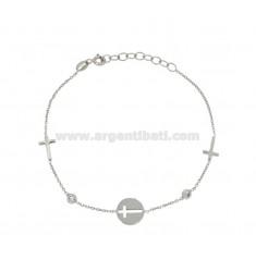 CABLE Armband mit CROSSES IN SILBER UND ZIRCONIA RHODIUM TIT 925 ‰ 18 CM