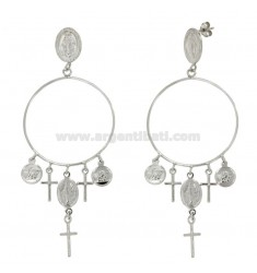 A GYPSY EARRINGS WITH CROSSES AND MEDALS IN SILVER RHODIUM SACRE TIT 925 ‰