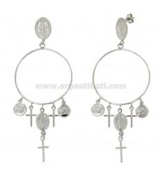 Zigeunerin Ohrringe mit Kreuzen und Medaillen in Silber rhodiniert SACRE TIT 925 ‰