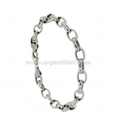 BRACELET CABLE MM 10x7 SHEET 2.7 MM 20 CM IN RHODIUM SILVER TITLE 925 ‰