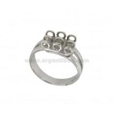 9 ANILLO CON anillos en plata del rodio 925 ‰ de tamaño ajustable