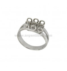 9 RING MIT Ringen aus Silber RHODIUM 925 ‰ mit veränderbarer Länge