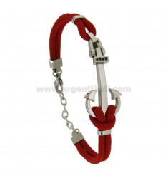 BRACELET DOUBLE RED ROPE WITH CENTRAL STREET AND STAINLESS STEEL ZIRCONES