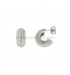 HOOP EARRINGS RIGATI DIAMETER 14 MM SILVER RHODIUM TIT 925 ‰