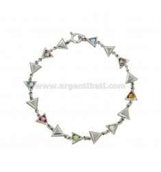 TRIANGLE BRACELET IN SILVER RHODIUM TIT 925 ‰ AND STONES HYDROTHERMAL CM 18