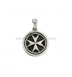 CHARM ROUND 17 MM CROSS OF AMALFI OR IN MALTA SILVER BRUNITO TIT 925 ‰