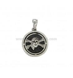 CHARM REDONDO 17 MM con los piratas plata símbolo BRUNITO TIT 925 ‰