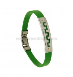 GREEN RUBBER BRACELET WITH PERFORATED GREEK STEEL PLATE WITH BILAMINE BRASS AND GOLD VITINS